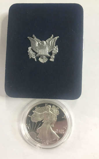 1998 PROOF SILVER AMERICAN EAGLE, ONE TROY OUNCE,