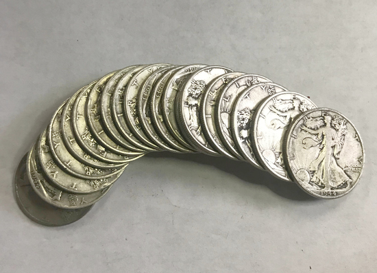 (1) ROLL WALKING LIBERTY SILVER HALF DOLLARS