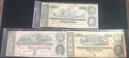 (3) CONFEDERATE STATES OF AMERICA NOTES: $5, $10, $20