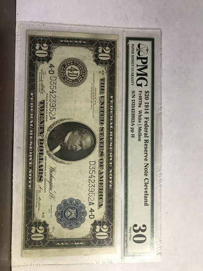 PMG GRADED VF30 $20 1914 FEDERAL RESERVE NOTE