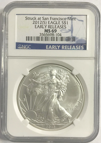 NGC EARLY RELEASES 2012-S SILVER EAGLE MS69 COIN