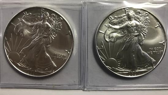 (2) BU 2021 AMERICAN EAGLE SILVER COINS