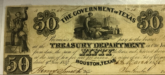 THE GOVERNMENT OF TEXAS ONE YEAR TREASURY BOND  AND SAM HOUSTON
