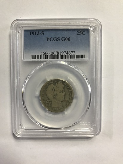 PCGS GRADED GO6 1913-S 25¢ COIN