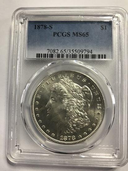 PCGS GRADED MS65 1878-S MORGAN SILVER DOLLAR