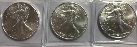 (3) BU 2021 AMERICAN EAGLE SILVER COINS