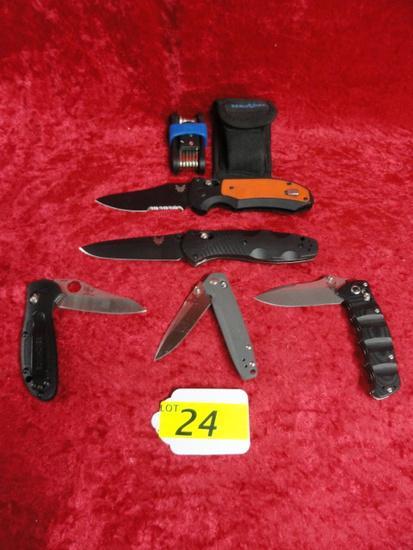 5 BENCHMADE FOLDING KNIVES & BENCHMADE SHARPENING TOOL