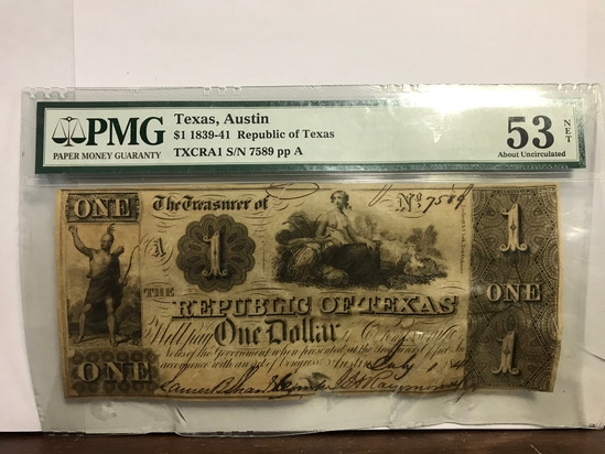 PMG GRADED 53 ABOUT UNCIRCULATED REPUBLIC OF TEXAS ONE DOLLAR