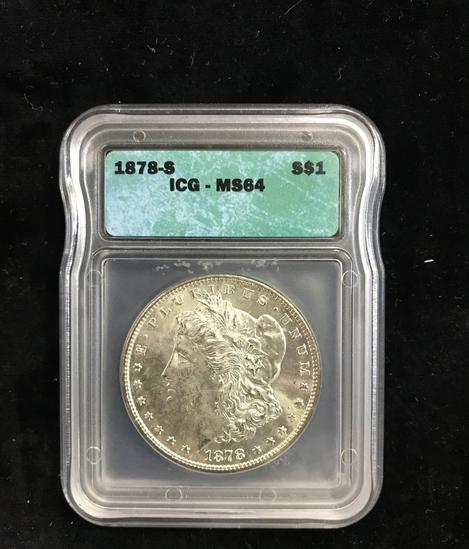 ICG GRADED MS64 1878-S MORGAN SILVER DOLLAR