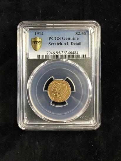 PCGS GENUINE SCRATCH-AU DETAIL 1914 $2.50 INDIAN HEAD GOLD COIN