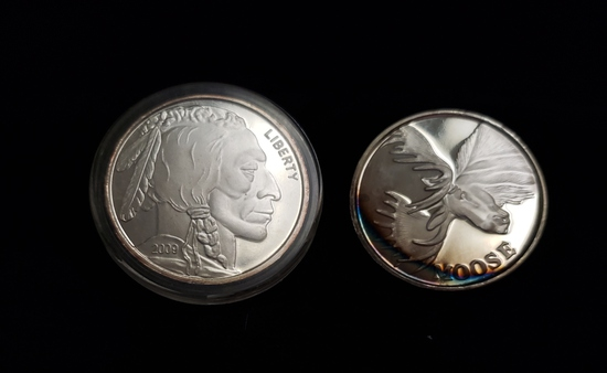 (2) 1 TROY OUNCE .999 FINE SILVER ROUNDS