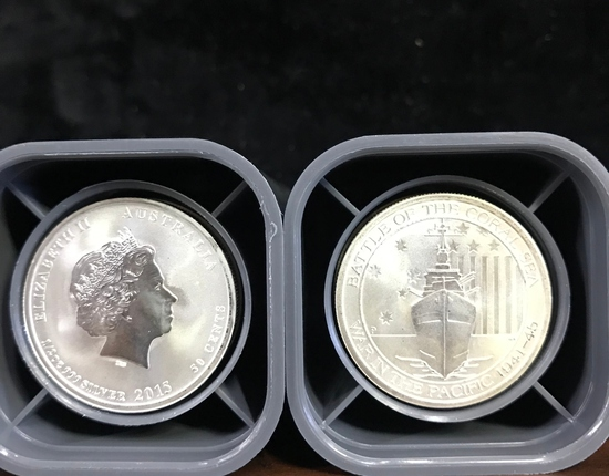 (2) ROLLS OF 25 AUSTRALIA 2015 BATTLE OF THE CORAL SEA 1/2 OZ .999 SILVER COINS