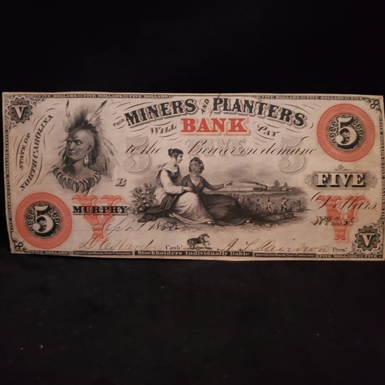 STATE OF NORTH CAROLINA, THE MINERS AND PLANTERS BANK FIVE DOLLAR NOTE