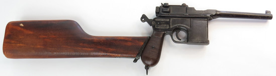 A PROP MAUSER PISTOL WITH SHOULDER STOCK