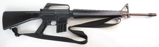 AN AMERICAN M16 A1 PROP RIFLE AND PROP BAYONET