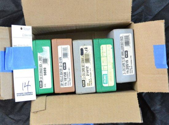 BOX LOT OF 5 SETS OF PISTOL RELOADING DIE SETS