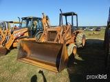 Case 680G Construction King Loader, orops, is missing backhoe arm, s/n 9185