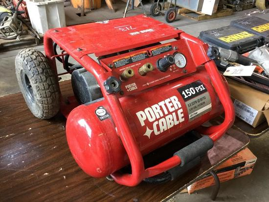 PORTER CABLE JOB BOSS AIR COMPRESSOR (MODEL C3151, 4.5 GALLON, OIL-FREE, WORKING CONDITION)