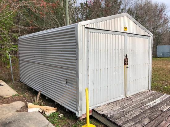 12X15.5ft METAL STORAGE BUILDING W/BARN DOORS