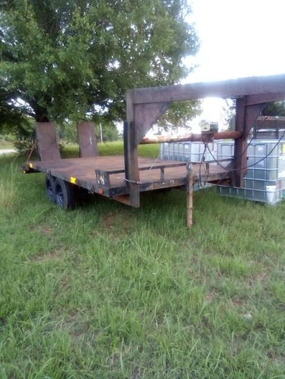 EQUIPMENT TRAILER 16FT **NO TITLE** (T/A, GN, HAND WINCH) R1