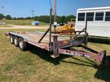 EQUIPMENT TRAILER 19FT **NO TITLE** (19 FT X 8 FT, (3) 8 LUG AXLES, PINTLE HITCH NO RAMPS, DUAL