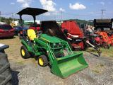 JOHN DEERE 1026R COMPACT TRACTOR W/LOADER (4X4, HYDROSTATIC, HRS 253, 55