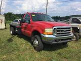 1999 FORD F450 XLT FLATBED PKP (6spd TRANS, 7.3L DIESEL, MILES READ-100245 EXEMPT, 10.5FT STEEL BED,