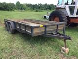 *NO TITLE* 78 IN X 16 FT EQUIPMENT TRAILER (12 IN SIDES DUAL AXLE,) R1