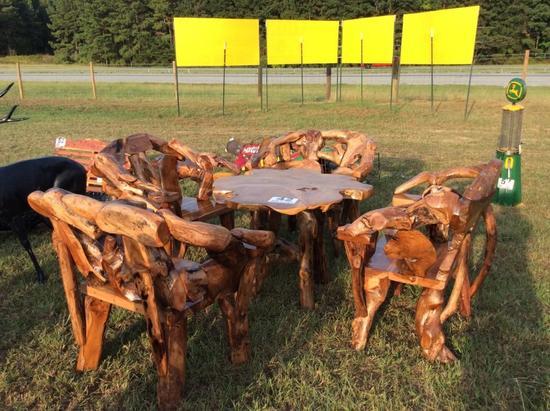 TEAK WOOD LOG TABLE W/ 4 CHAIRS