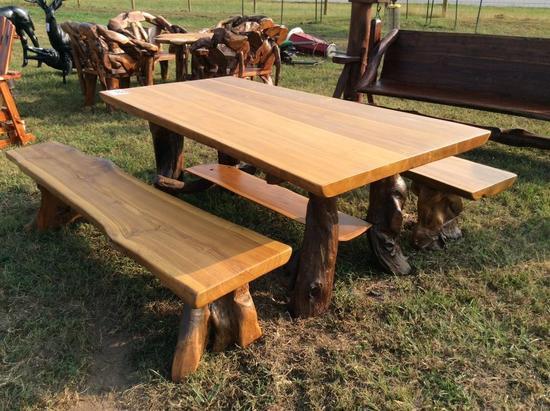 TEAK WOOD SLAB TABLE W/2 BENCHES