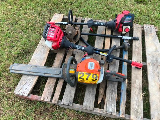 HUSQVARNA HEDGE TRIMMER & 2 TROY BILT WEED TRIMMER