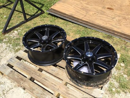 "(2) 10""X20"" 6 LUG BLACK RIMS"