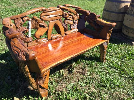 TEAK WOOD LOG BENCH