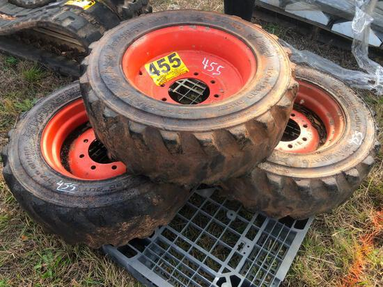 (3) SKID STEER WHEEL & TIRES 10-16.5