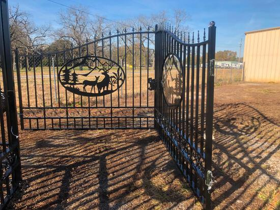 20FT WROUGHT IRON GATE W/DEER ART-SELLING ABSOLUTE