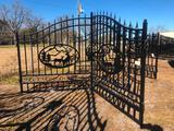 14FT WROUGHT IRON GATE W/DEER ART-SELLING ABSOLUTE