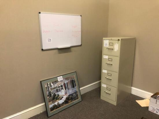 4 DRAWER FILING CABINET, WHITE BOARD, OFFICE PICT