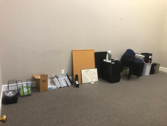 CONTENTS OF OFFICE-CHAIRS, FILE CABINET, WOODEN