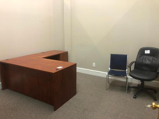 2 PIECE L SHAPED DESK W/(2) OFFICE CHAIRS