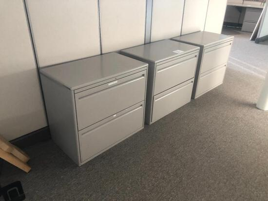 (3) HORIZONTAL FILING CABINETS 2 DRAWER