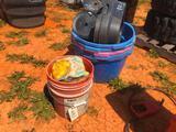 BUCKET OF INSULATIORS, PLASTIC TUBS, FENCE TAPE