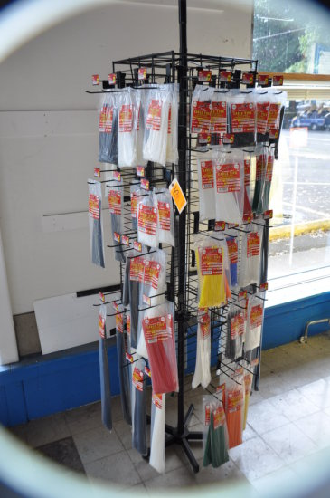 LOT OF TOOL CITY CABLE TIES ASSORTED AND DISPLAY RACK