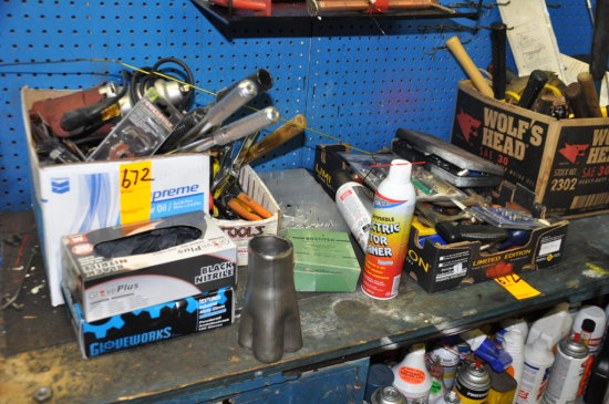 LOT OF ASSORTED HAND TOOLS, SOLVENTS AND CLEANERS