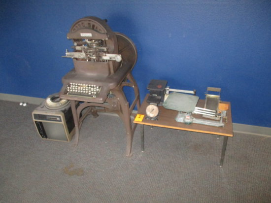 LOT OF OLD SCALES, RECEIPT DISPENSER, GRAPHOTYPE AND KODAK EXTAGRAPHIC 410