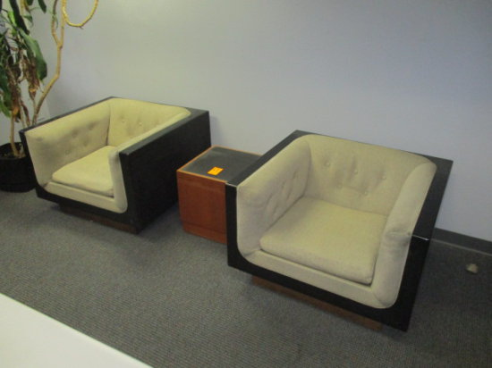 LOT OF TWO BOX PADDED CHAIRS AND SMALL END TABLE