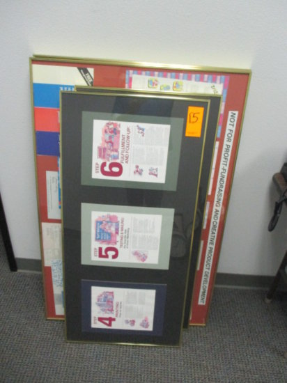 LOT OF 4 YELLOW METAL FRAMED PRINTS 2 - 20'' x 42'', 2 - 30'' X 44'' ONE HA