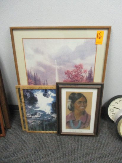 LOT OF 2 WATER FALL 1 INDIAN WOMAN FRAMED PRINTS APPROX 15'' X 22'' AND 1 F