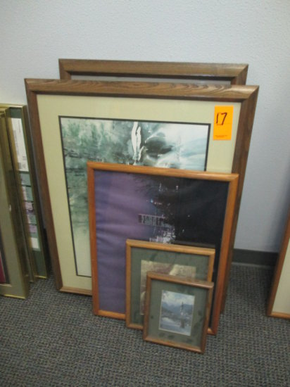 LOT OF 3 WOOD FRAMED PHOTOS, WOOD FRAMED 22'' X 30'' WATER COLOR SIGNED BY