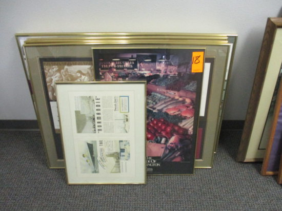 LOT OF 4 YELLOW METAL FRAMED ADVERTISING EXAMPLES APPROX 40'' X 30'', 1 - 2