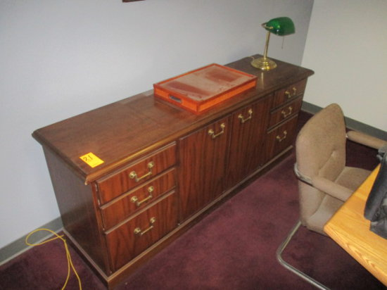 CREDENZA 6'L X 19''D, 6 DRAWERS AND 2 DOOR CABINET.  COMES WITH TABLE LAMP